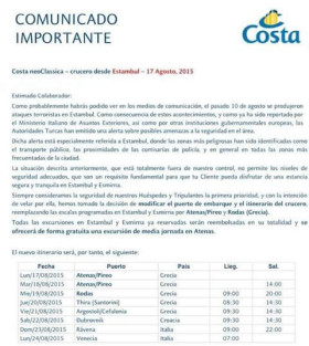 Carta Costa Cruceros