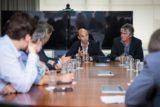 El Ministro de Transporte de la Nación, Guillermo Dietrich, y el Subsecretario de Puertos y Vías Navegables, Jorge Metz, en la declaración de consenso