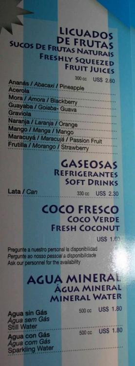 Lista de precios de Bebidas en el Pool Bar del MSC Opera