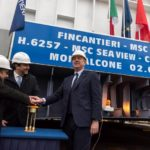 Mr Vago (Executive Chairman of MSC Cruises), Mr Onorato (CEO of MSC Cruises) and Mr Bono (CEO of Fincantieri) push the button to begin the movement of the block into the dry dock