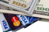 Dollars and credit cards Visa and Mastercard